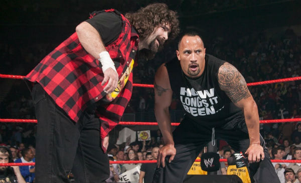 Dwayne Johnson and Mick Foley