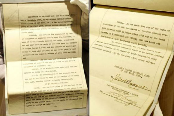 Babe Ruth Yankees Contract