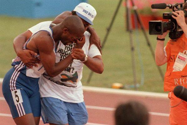 Sprinter Derek Redmond with his father